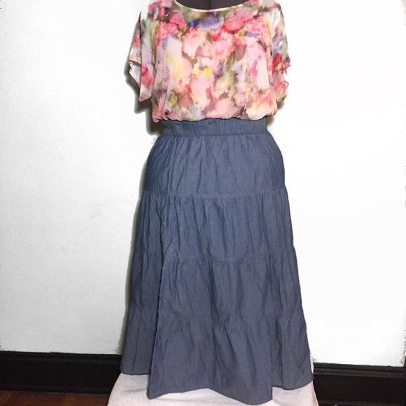 03784f706 Skirts | No Brand Tag Cut Chambray Maxi Skirt 14 16 Xl 1x | Poshmark